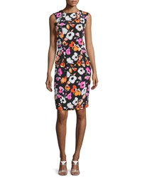 Oscar De La Renta Sleeveless Mixed Poppy Print Dress Black