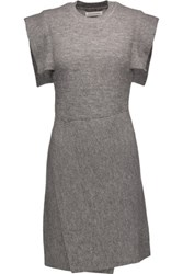 Etoile Isabel Marant Letty Wrap Effect Textured Knit Mini Dress Gray