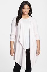 Plus Size Women's Barefoot Dreams Drape Front Cardigan Pink Petal Pearl Heathered