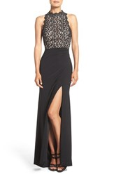 Xscape Evenings Petite Women's Shimmer Lace And Matte Jersey A Line Gown Black Nude