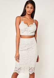 Missguided Floral Lace Striped Midi Skirt Grey