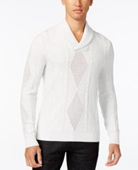 Inc International Concepts Men's Mesh Diamond Cable Knit Sweater Only At Macy's Light Grey