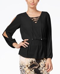 Thalia Sodi Lace Up Peplum Blouse Only At Macy's Deep Black
