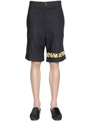 Lords And Fools Embroidered Wool Crepe Bermuda Shorts