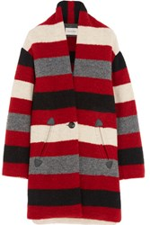 Etoile Isabel Marant Gabrie Striped Wool Blend Boucle Coat Red
