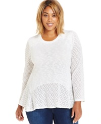 Style And Co. Plus Size Mixed Knit Peplum Sweater Only At Macy's Winter White