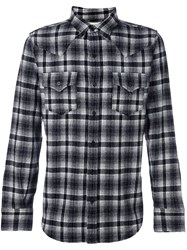 Saint Laurent Checked Classic Western Shirt Black