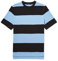 Alexander Wang T By Striped Cotton Jersey T Shirt Light Blue