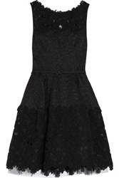 Oscar De La Renta Belted Silk Blend Lace Mini Dress Black