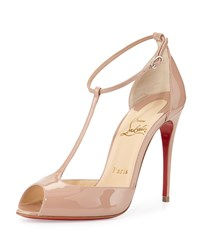 Senora Patent T Strap Red Sole Sandal Nude Christian Louboutin Brown