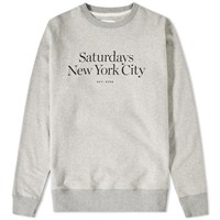 Saturdays Surf Nyc Saturdays Standard Logo Crew Sweat Grey