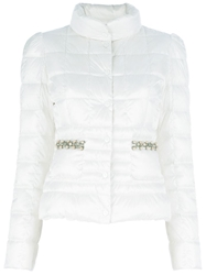Fay Jewel Detail Padded Jacket Nude And Neutrals