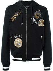 Dolce And Gabbana Musical Patch Zip Hoodie Black