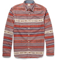 Faherty Slim Fit Printed Cotton Flannel Shirt Red