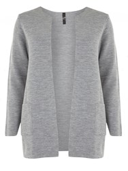 Evans Grey Collarless Cardigan