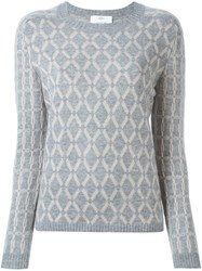 Allude Diamond Intarsia Sweater Grey