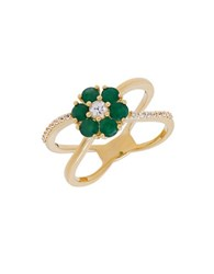 Lord And Taylor Emeralds White Sapphire 14K Yellow Gold Ring Green