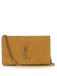 Saint Laurent Monogram Crocodile Effect Leather Cross Body Bag Tan