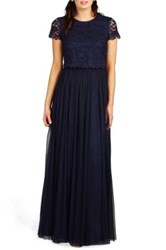 Donna Morgan 'Amelia' Lace And Tulle Two Piece Gown Blue