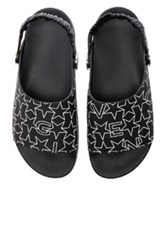 Givenchy Slide Strap Sandals In Black Geometric Print