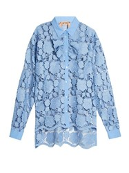 N 21 Ruffle Trimmed Guipuere Lace Shirt Light Blue