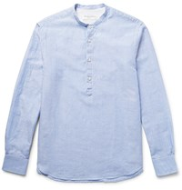 Officine Generale Grandad Collar Striped Cotton And Linen Blend Shirt Blue
