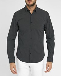 Ikks Black Slim Fit Shirt With White Micro Pattern