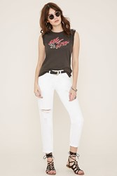 Forever 21 Distressed Boyfriend Jeans White Denim