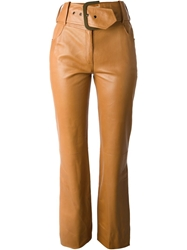 Christian Dior Vintage Bell Bottom Belted Trousers Brown