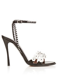 Tabitha Simmons Lynn Daisy Embellished Leather Sandals Black White