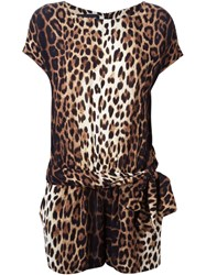 Boutique Moschino Leopard Print Playsuit Nude And Neutrals