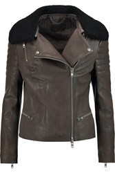 Muubaa Santara Shearling Trimmed Leather Biker Jacket Brown