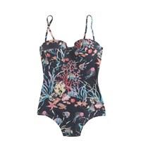 J.Crew Underwire Bandeau One Piece Swimsuit In Ratti Under The Sea Print Navy Mutli