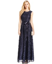 Tahari Allover Floral Applique Gown With Sash Navy