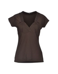 Boss Black Short Sleeve T Shirts Dark Brown