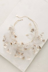 Anthropologie Feathered Tulle Bib Necklace Grey