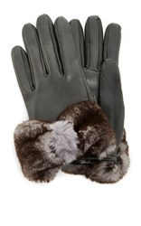 Imoni Lambs Leather Gloves With Fur Bow Light Grey