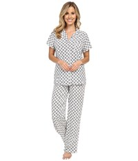 Splendid Voile Pj Set Vintage Stamp Women's Pajama Sets Gray