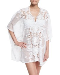 Miguelina Kara Hibiscus Netted Lace Caftan Coverup Pure White