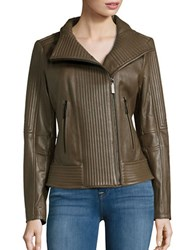 Vince Camuto Ribbed Moto Jacket Olive Green
