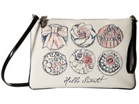My Flat In London Hello Sweets Convertible Pouch Natural Black Wallet Beige