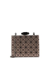 Sondra Roberts Geometric Faux Leather Minaudiere Pewter