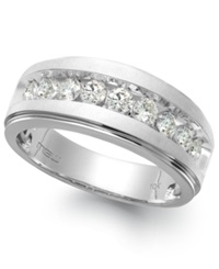 Macy's Men's Nine Stone Diamond Ring In 10K White Gold 1 Ct. T.W.