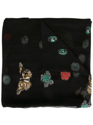 Alexander Mcqueen Skull And Butterfly Scarf Black