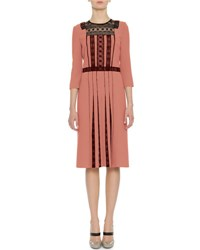 Bottega Veneta 3 4 Sleeve Lace And Pleated Crepe Dress Dusty Rose
