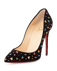 Christian Louboutin Pigalle Follies Crystal Red Sole Pump Black Multi