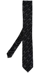Dolce And Gabbana Stripe Flower Print Tie Black
