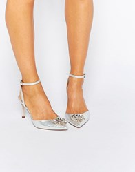 Asos Society Wide Fit Embellished Heels Silver