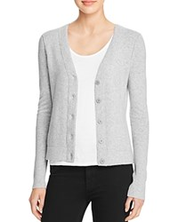 Aqua Cashmere V Neck Cashmere Cardigan Light Grey