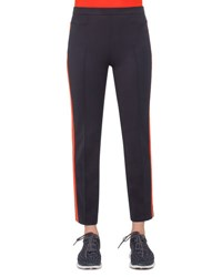 Akris Punto Franca Side Striped Ankle Pants Navy Rust